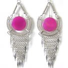 ENDLESS LOVE ~ LG Fuchsia Agate Silver Chandelier Earrings