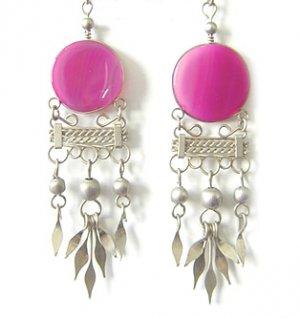 FESTIVITY ~ Fuchsia Agate Silver Chandelier Earrings