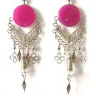 HARMONY ~ LG Fuchsia Agate Silver Chandelier Earrings