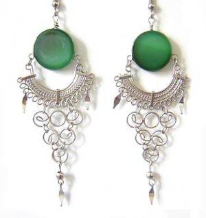 INDIAN LEGEND ~ Green Agate Silver Chandelier Earrings