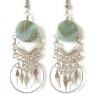 INDIAN PRINCESS ~ Green Agate Silver Chandelier Earrings