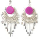 LOVE ALWAYS ~ Fuchsia Agate Silver Chandelier Earrings