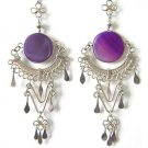 LUCKY DAY ~ Purple Agate Silver Clover Chandelier Earrings