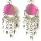 MESMERIZE ~ Fuchsia Agate Silver Chandelier Earrings