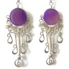 MUSE FAIRY ~ Purple Agate Silver Chandelier Earrings
