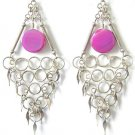 OCEAN WAVES ~ Long Fuchsia Agate Silver Chandelier Earrings