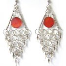 OCEAN WAVES ~ Long Orange Agate Silver Chandelier Earrings