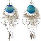 RADIANT ~ BLUE AGATE Silver Chandelier Earrings