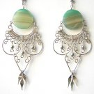 RADIANT ~ Green Agate Silver Chandelier Earrings
