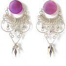 RADIANT ~ Purple Agate Silver Chandelier Earrings