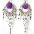 RHAPSODY ~ Purple Agate Silver Chandelier Earrings