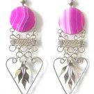 SPRING ROMANCE ~ Fuchsia Agate Silver Chandelier Earrings