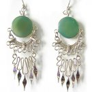 TROPICAL PALMS ~ Green Agate Silver Chandelier Earrings