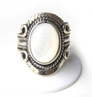 FOREVER ~ MOTHER OF PEARL Silver Adjustable Ring