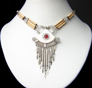 MANTRA ~ RUBY RED Glass & Bone Silver Bamboo Necklace