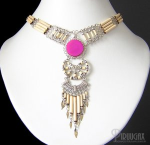 INDIAN CHANT ~ Fuchsia Agate Silver Bamboo Chandelier Necklace