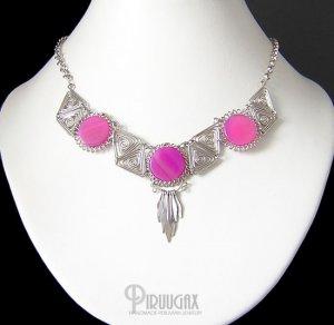 MYSTICAL PIRAMIDS ~ Fuchsia Agate Silver Necklace Choker