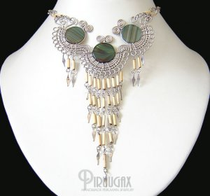 WATERFALL SHADE ~ Green Agate Silver Bamboo Chandelier Necklace