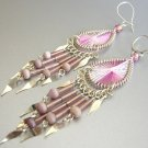 SWEET WINE ~  Hand Woven Hippie Thread Chandelier Earrings