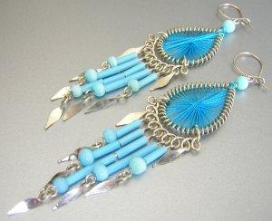 KAHLUA ~  Hand Woven Hippie Thread Chandelier Earrings
