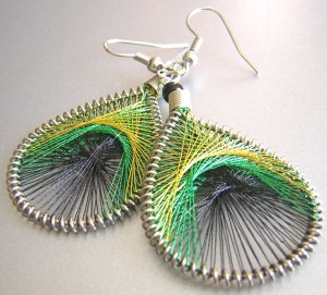 PEACOCK ~ Yellow Green Black Metallic Thread Earrings