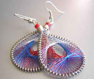 PEEK-A-BOOO ~ Blue Red White Metallic Thread Earrings