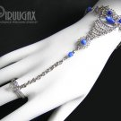ROYAL BLUE Cat Eye Beaded Silver Slave Bracelet & Ring