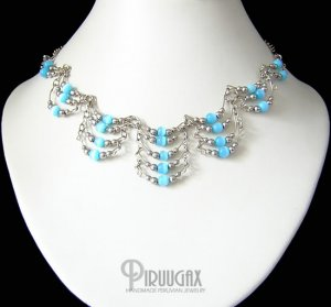 TURQUOISE Cat Eye Beaded Silver Tier Necklace Choker