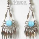 TURQUOISE Cat Eye Beaded Silver Mini Dangle Earrings