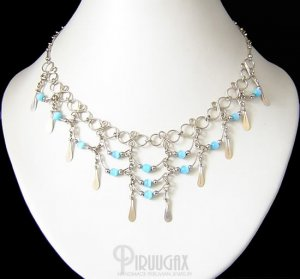 TURQUOISE Cat Eye Beaded Tiers Dangle Necklace Choker