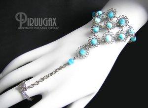 TURQUOISE Cat Eye Beaded Silver Flower Slave Bracelet & Ring