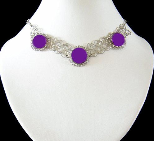 VIOLET SPIRALS ~ Purple Silver Necklace Choker