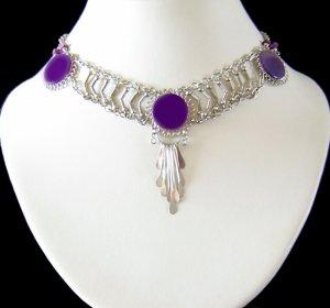 PURPLE SWING~ Silver Dangle Necklace Choker
