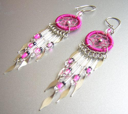 FUCHSIA Crystal Hand Woven Hippie Dreamcatcher Chandelier Earrings