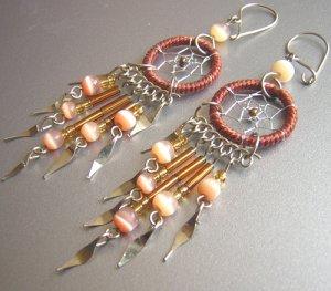 Brown Cat Eyes Hand Woven Hippie Dreamcatcher Chandelier Earrings