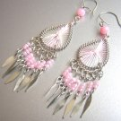 PINK Hand Woven Hippie thread Chandelier Earrings