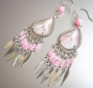 PINK Hand Woven Hippie thread Chandelier Earrings