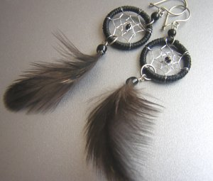 BLACK Cat eyes Hand Woven Hippie Dreamcatcher Feathers Chandelier Earrings