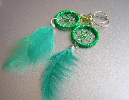GREEN Cat eyes Hand Woven Hippie Dreamcatcher Feathers Chandelier Earrings