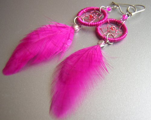 MAGENTA Cat eyes Hand Woven Hippie Dreamcatcher Feathers Chandelier Earrings