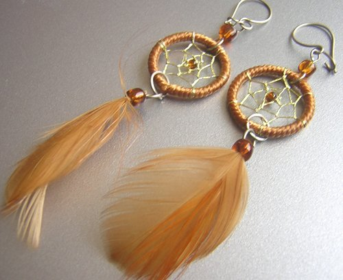 TOBACCO Hand Woven Hippie Dreamcatcher Feathers Chandelier Earrings