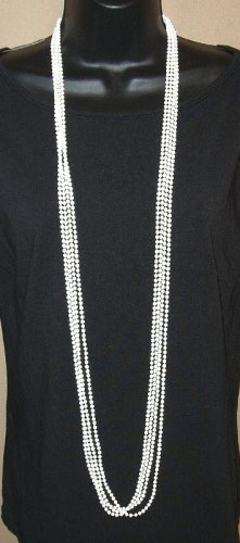 "Vintage White Necklace Plastic Beads Flapper  50"""