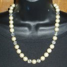 Vintage Faux Pearl Necklace  AB Beads