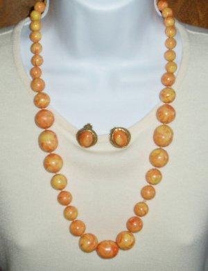 Vintage Orange Swirl Necklace & Earrings  Bakelite?