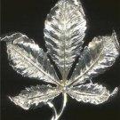 Vintage Coro Pegasus Brooch Silver Tone Leaf Signed