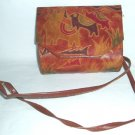 Vintage  Leather Purse Painted Tooled USA  Elephants