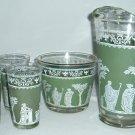 Vintage  Jeanette Glass Co Hellenic Pattern Green 6 pc. Set