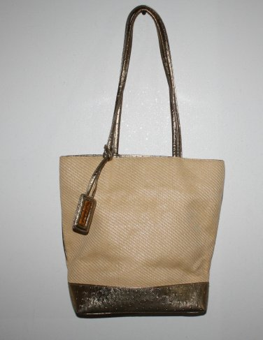 Bueno Purse Tote NWOT Gold/Coated Canvas