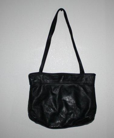 Vintage Black Leather Purse Shoulder Bag Tote