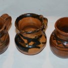 Vintage  Pottery Red Clay  Lot of 3 Cups Glazed